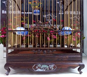 Lồng yến vuông gỗ mun khảm hoa